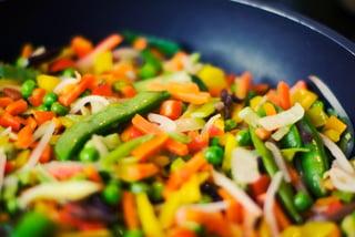 vegetables frying